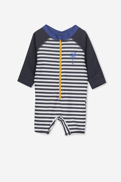 Harris One Piece, WHITE/PALM STRIPE
