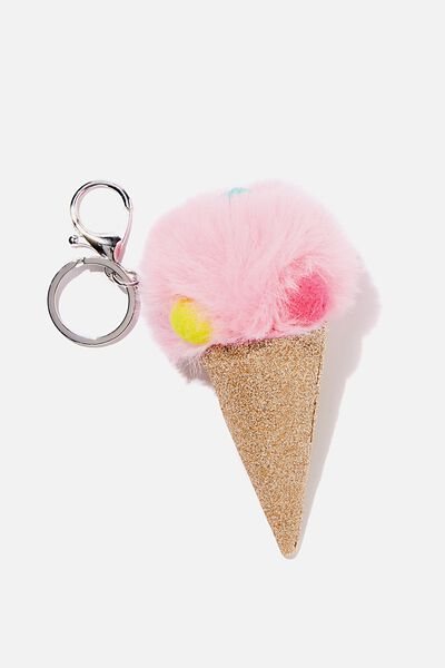 Kids Pom Pom Bag Charm, MULTI ICECREAM