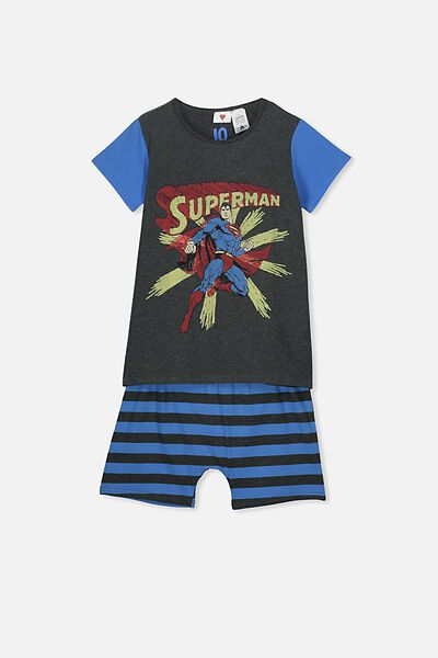 Hudson Ss Pj Set, LCN WB SUPERMAN DARK GREY