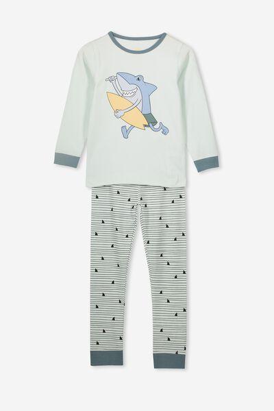 Harrison Long Sleeve Boys Pyjamas, SHARK FIN STRIPE