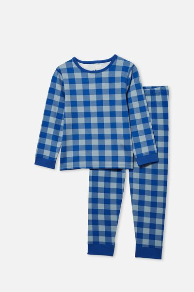 Orlando Long Sleeve Pyjama Set, BLUE GINGHAM/RETRO BLUE