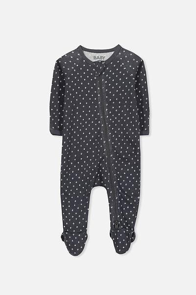 Newborn Long Sleeve Zip Through Romper, GRAPHITE GREY/MINI NAUGHTS AND CROSSES