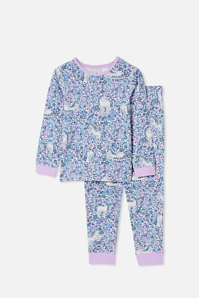 Florence Long Sleeve Pyjama Set, UNICORN GARDEN/PALE VIOLET