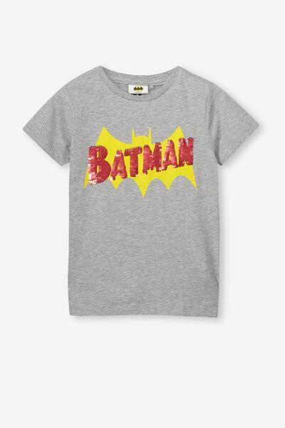 Short Sleeve License1 Tee, LIGHT GREY MARLE/REVERSIBLE BATMAN