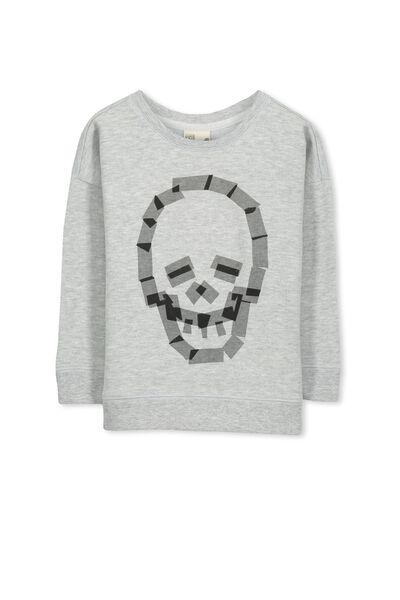 Leon Crew Sweatshirt, LT GREY MARLE/SKELETON