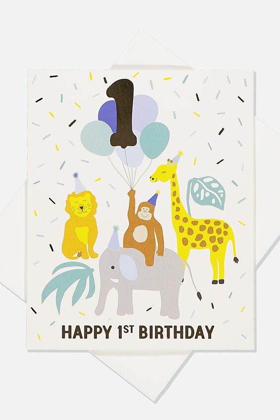 Alex Birthday Card, 1ST BIRTHDAY ANIMALS