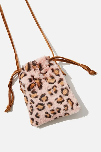 Maddie Fashion, CROSSBODY PLUSH PINK LEOPARD
