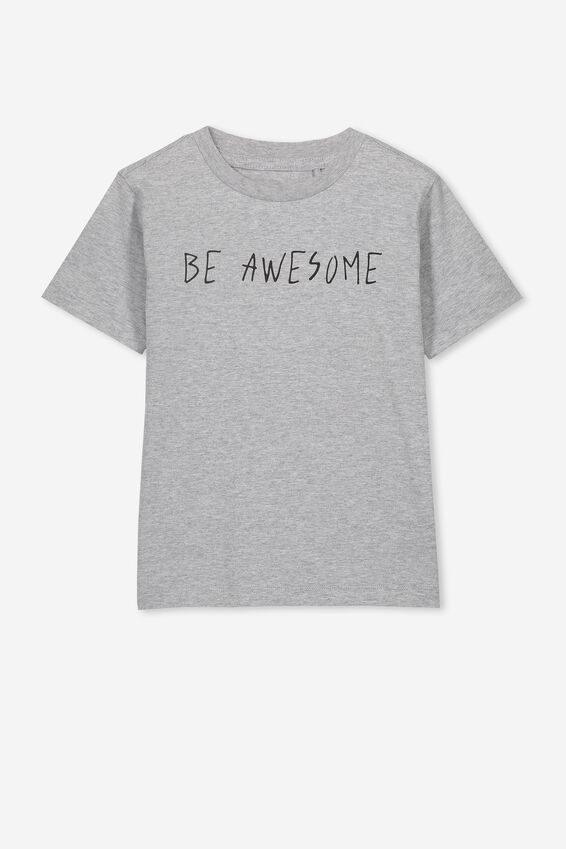 Max Skater Short Sleeve Tee, LIGHT GREY MARLE/BE AWESOME