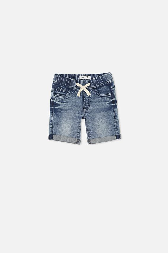 Flex Dnm Short, MID WASH