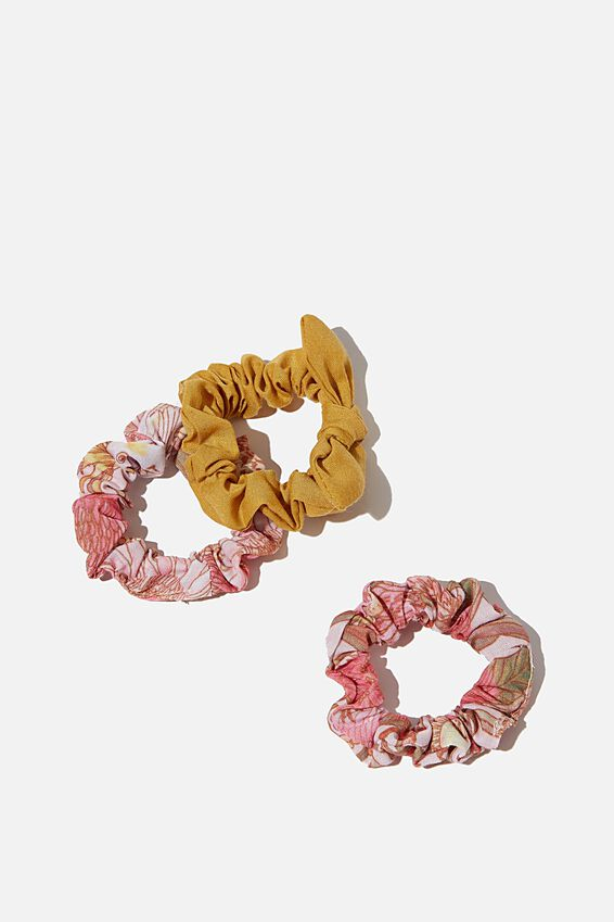 Mini Scrunchie, BLUSH AUSTRALIAN FLORAL