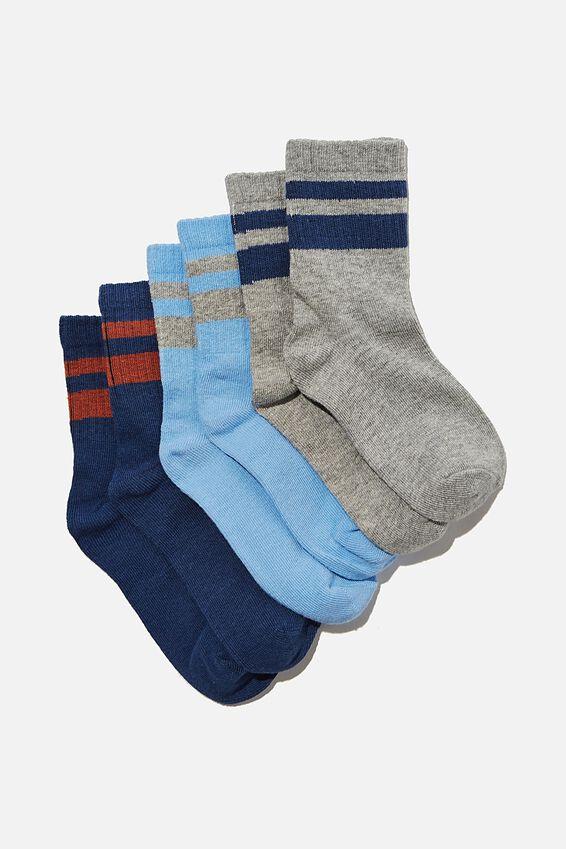 Kids 3Pk Crew Socks, PETTY BLUE