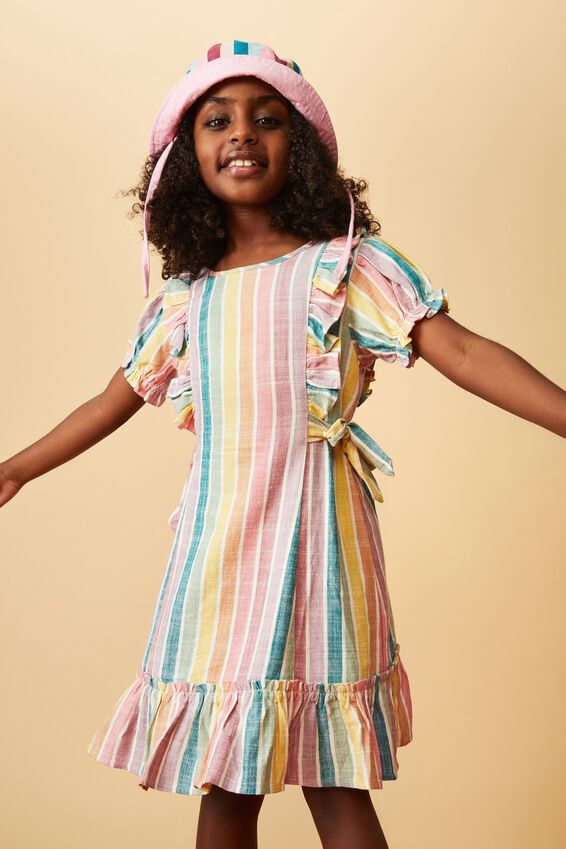 Beattie Short Sleeve Dress, RAINBOW STRIPE