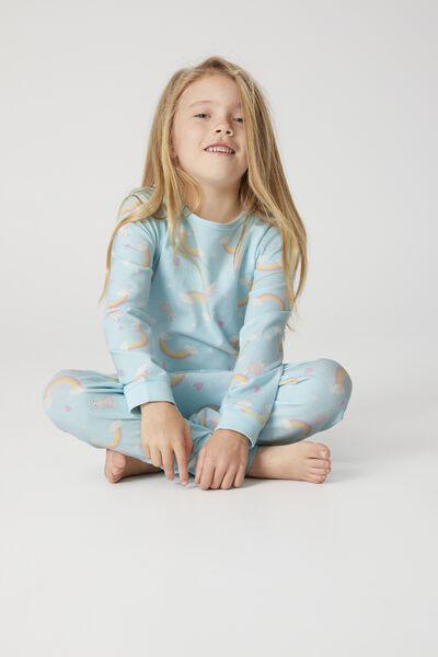 Florence Long Sleeve Pyjama Set, LLAMA RAINBOW BALLERINA DREAM BLUE