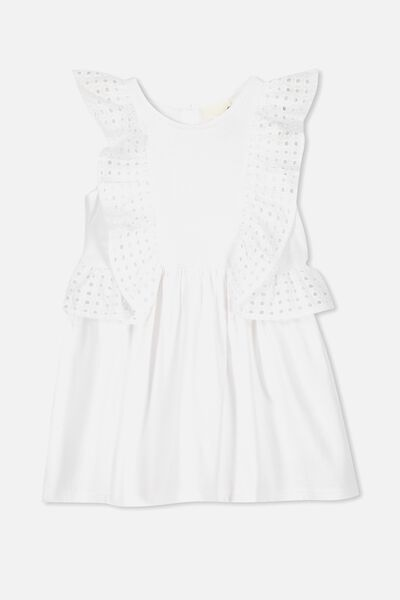 Sheridan Sleeveless Dress, WHITE