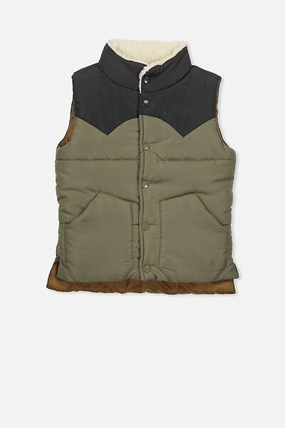 Ruben Puffer Vest, PHANTOM/CLIVE GREEN