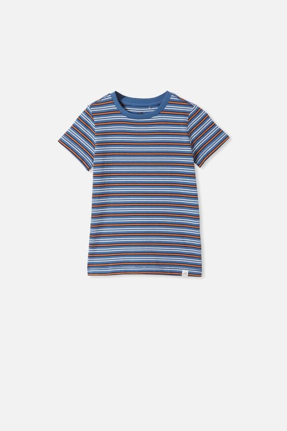 Core Short Sleeve Tee, PETTY BLUE/AMBER BROWN STRIPE