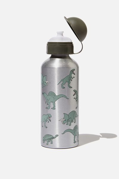 Aluminium Drink Bottle, GREEN DINOSAUR