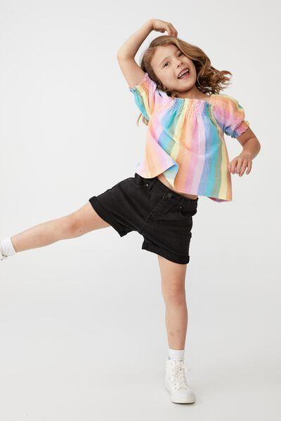 Eloise Shirred Short Sleeve Top, RAINBOW STRIPE