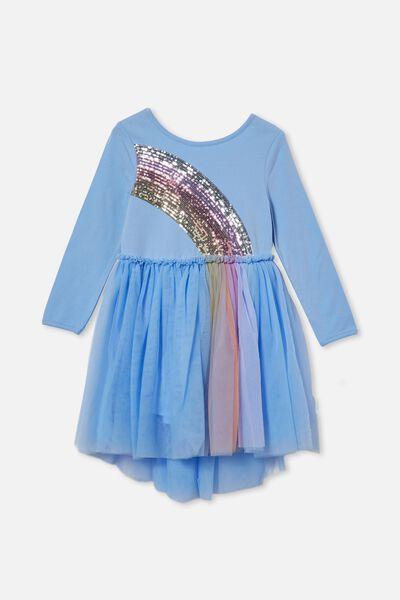 Iris Long Sleeve Dress, DUSK BLUE/RAINBOW