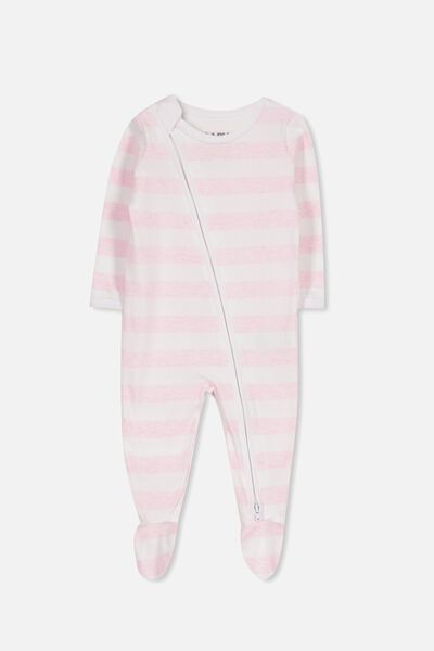 Sleep Mini Zip All In One Jumpsuit, WHITE/PINK MARLE STRIPE