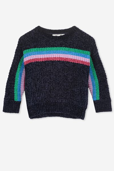 Shelly Knit Jumper, PEACOAT/MULTI STRIPE