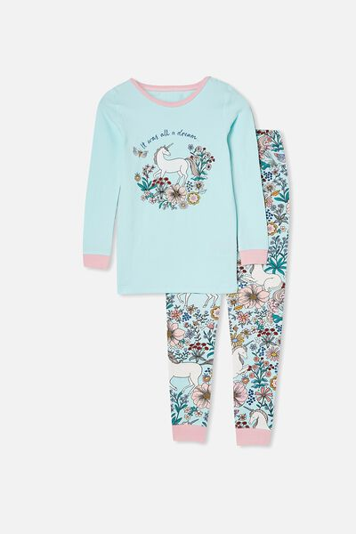 Lila Long Sleeve Pajama Set, FLORAL UNICORN/DREAM BLUE