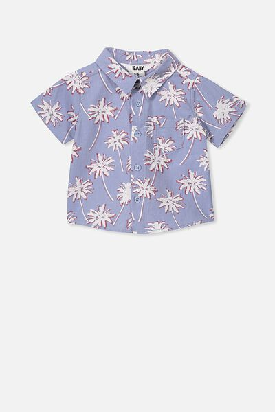 Mack Short Sleeve Shirt, DUSTY BLUE/PALM TREES