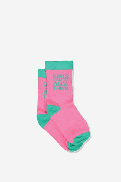 Fashion Kooky Socks, G GIRLS CAN DO ANYTHING