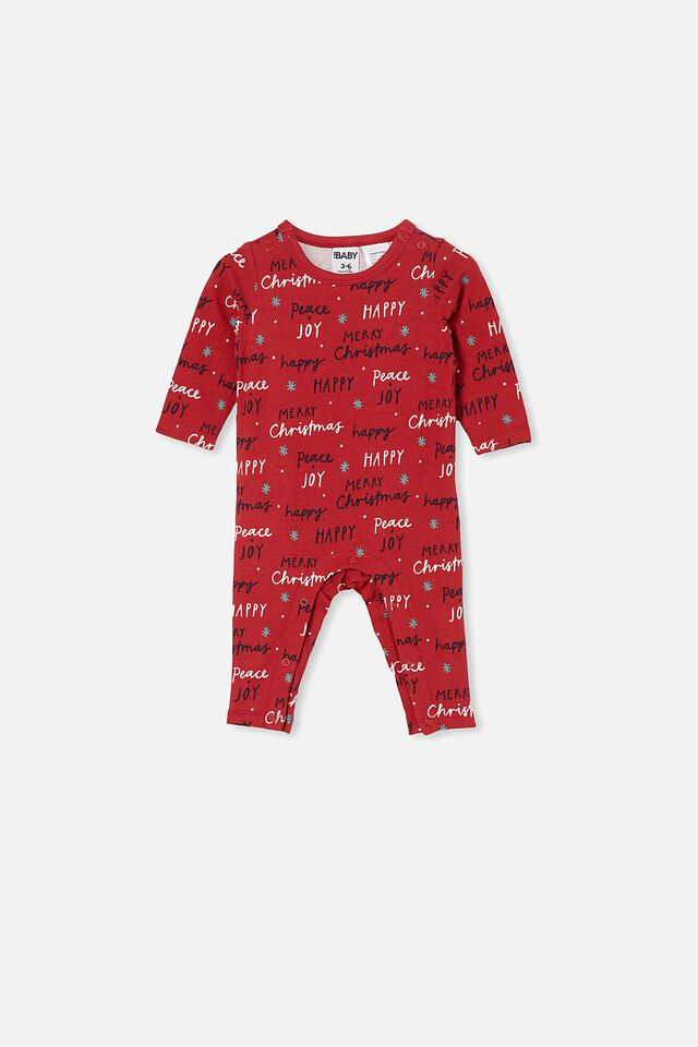 The Long Sleeve Snap Romper, LUCKY RED/PEACE AND JOY