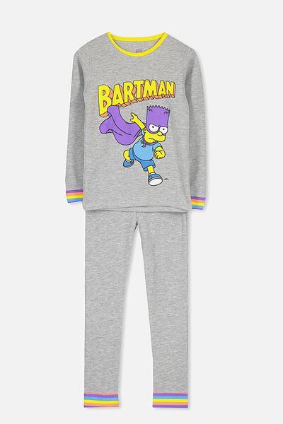 Jack Boys Long Sleeve Waffle Pyjama Set, LCN BARTMAN