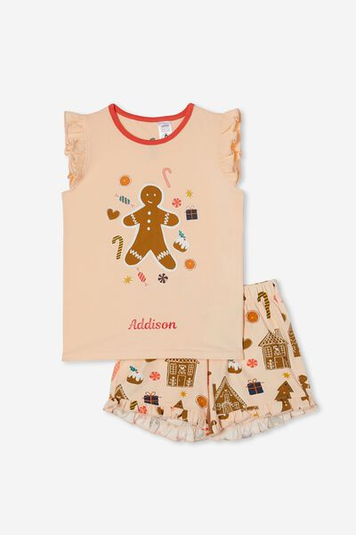 Stacey S/Sleeve Flutter Pyjama Set Personalise, GINGERBREAD XMAS/PEACH TANG