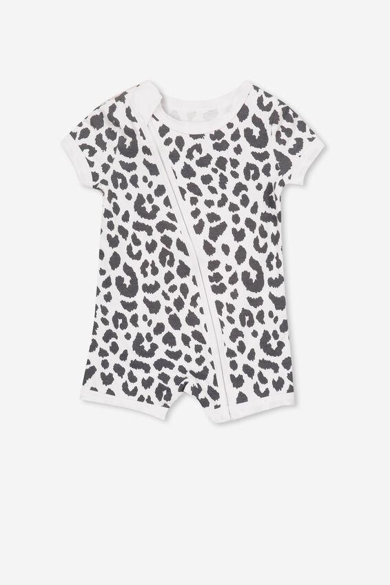 Mini Snug Short Slv Zip Through Romper, WHITE/OCELOT PRINT
