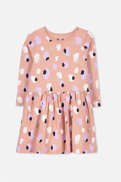 Lani Long Sleeve Dress, CAMEO BROWN/ORGANIC DABS