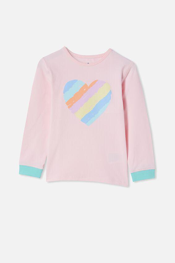 Florence Long Sleeve Pyjama Set, RAINBOW HEART/CRYSTAL PINK