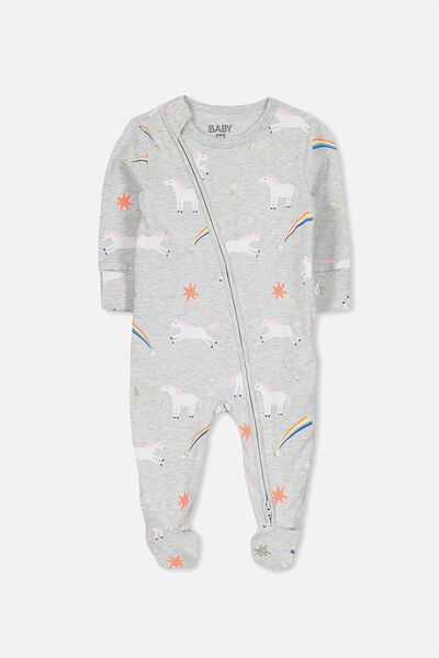 Mini Zip Through Romper, CLOUD MARLE/LEAPING UNICORNS