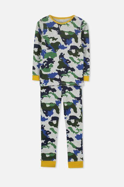 Jack Boys Long Sleeve Waffle Pyjama Set, CAMO
