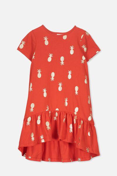 Joss Short Sleeve Dress, ENGINE RED/PINEAPPLES