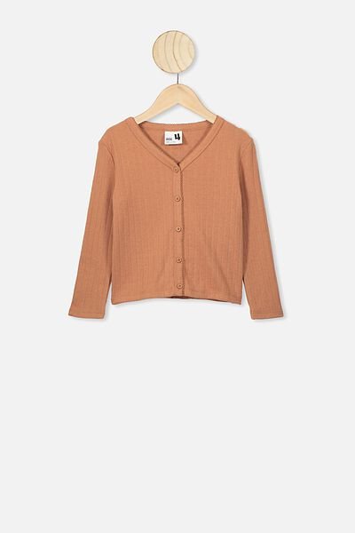 Bessie Button Through Top, AMBER BROWN