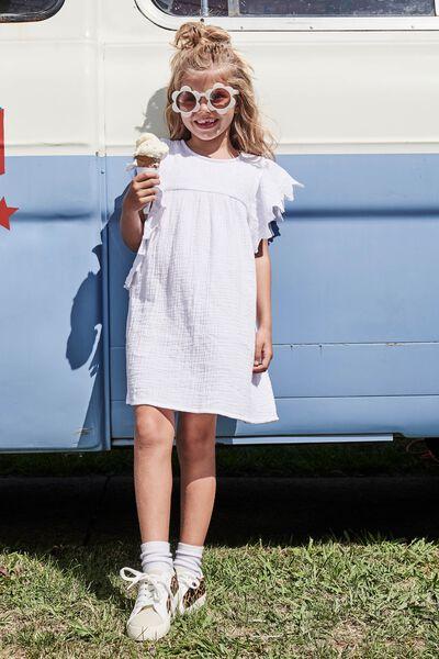 Maggie Short Sleeve Dress, WHITE