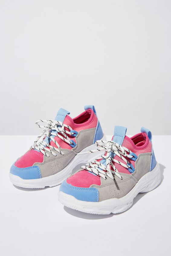 Tech Lace Up Trainer, FUCHSIA PINK/BLUE