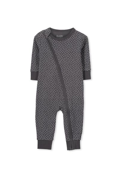 Mini Zip Footless One Piece, GRAPHITE GREY/VANILLA SPOT