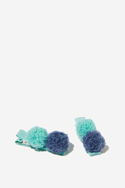 Hair Clips, POM POM/BLUE/MINT