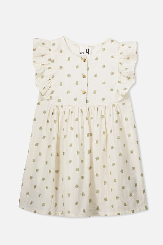 Goldie Sleeveless Dress, DARK VANILLA TEXTURE/STARS