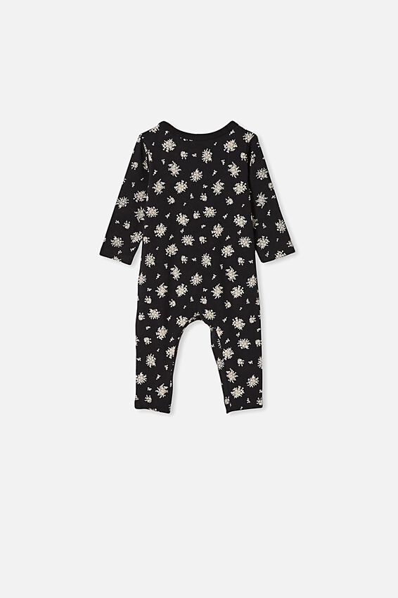 The Long Sleeve Snap Romper, BLACK OLIVIA WHITE FLORAL