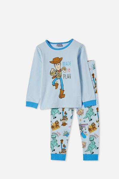 Ethan Long Sleeve Pyjama Set, LCN DIS WOODY MADE TO PLAY FROSTY BLUE