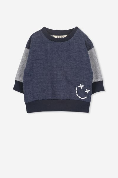 Skyler Drop Shoulder Crew, INDIGO/SMILEY FACE