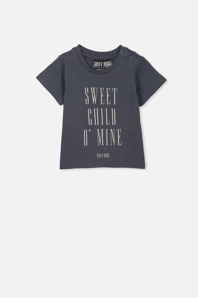 Jamie Short Sleeve Tee, LCN BR GRAPHITE GREY/SWEET CHILD O'MINE