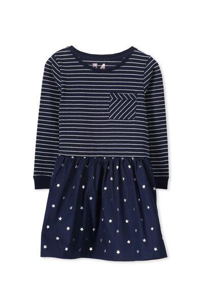 Lani Long Sleeve Dress, PEACOAT STRIPE/STARS