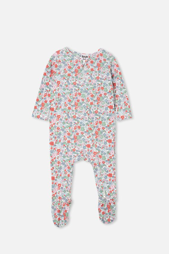 The Snug Long Sleeve Zip Romper, VANILLA/CALI PINK GARDEN FLORAL