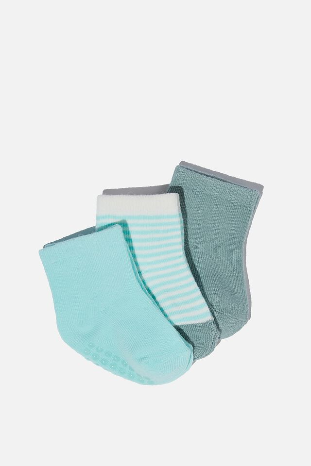 3Pk Baby Socks, RUSTY AQUA/ TURTLE GREEN STRIPE
